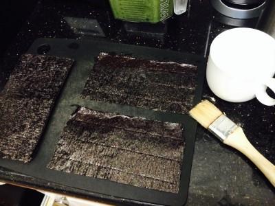 Prepping the Nori - Cut the Raw Nori sheets in half