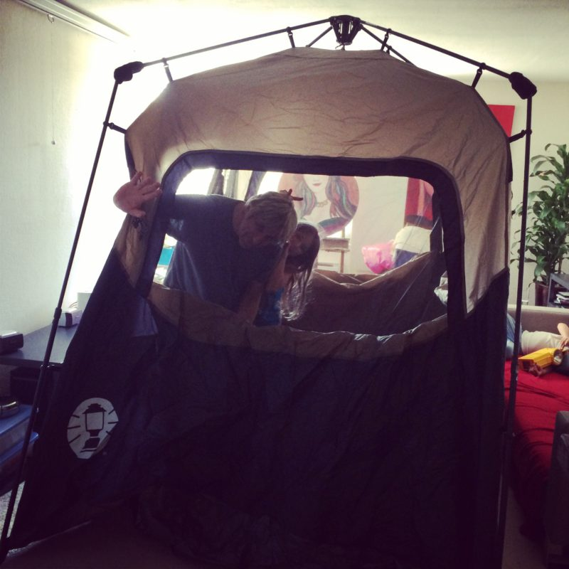 Prepping for our Family camp trip. Even our kids can set this tent up.