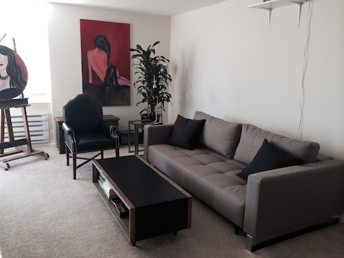 Minimalist Living Room in our small apartment in San Francisco