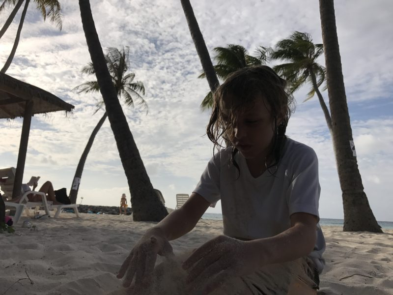 Playing in the Sand in Maafushi Maldives