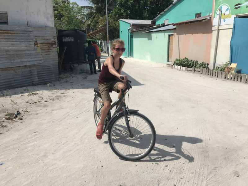 Family Beach Trip - Biking in Maldives