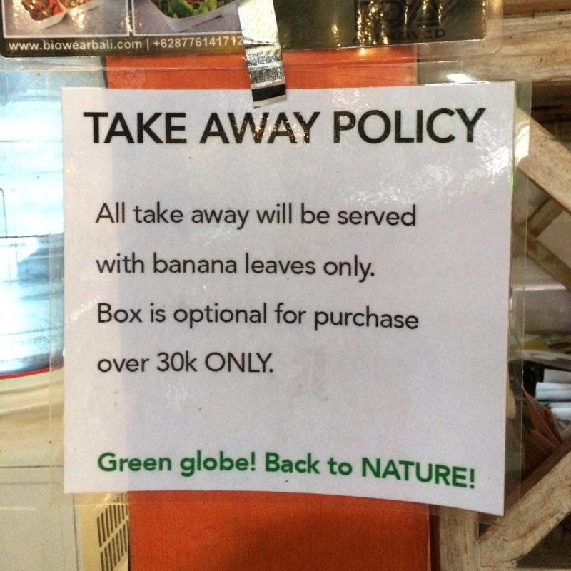 Take Away Policy at Ubud restaurant - Bali Visitors Guide